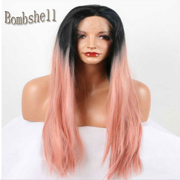 Wholesale Cheap Celebrity Lace Wigs - Cheap Long striaght Heat Resistant Black Ombre Smoke Pink Hand Tied Celebrity Synthetic Lace Front Wig Free Parting For Black Women