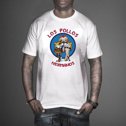 Wholesale 100 cotton Los Pollos Hermanos T Shirts Men Chicken Brothers Man T shirts Sitcoms Short Sleeve O Neck Cotton Shirts Rock Brand Clothing T03