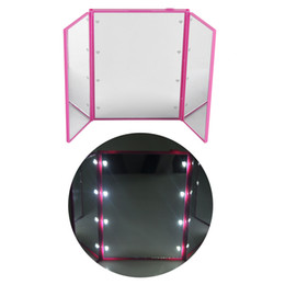 Wholesale Square Led Mini - 8 LED makeup mirror LED make up mirror foldable inside battery mini foldable Portable Folding Compact Cosmetic with LED Light retail box