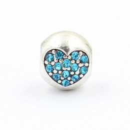 Wholesale Pandora Findings - DIY Inset Crystal Heart Shape Charms Bead Fit Pandora European Style Charms Bracelets Jewelry Finding Authentic Accessories
