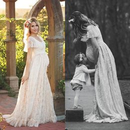 Wholesale Vintage Butterfly Sleeve Dress - 2017 Gorgeous Maternity Wedding Dresses Full Lace Country Boho Wedding Dress Scoop Neck Butterfly Sleeves Pregnant Bridal Gowns