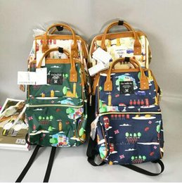 Wholesale Wholesale Leather Handles - 4 Colors New ANELLO Japan Cartoon Printed Handle Backpack Campus Rucksack Leather School Bag Unisex Outdoor Travel Backpack CCA6631 15pcs