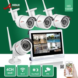 Wholesale Mini Bullet Camera System - DHL FREE ANRAN CCTV 1080P P2P 4CH WIFI NVR 12 Inch LCD Monitor 36 IR Outdoor Mini Bullet Wireless IP Camera Surveillance Security System Kit