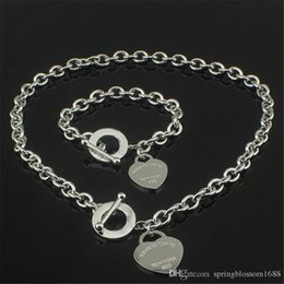 Wholesale Golden China - Christmas Gift 925 Silver Love Necklace+Bracelet Set Wedding Statement Jewelry Heart Pendant Necklaces Bangle Sets 2 in 1