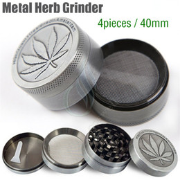 Wholesale Designed Herb Grinder - New Metal Herb Grinder 4 Pieces Layer Cheap Tobacco Grinders Magentic Designed Amsterdam with Pollen Catcher Scraper 40mm Grey Color DHL