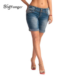 Wholesale Girls Waist Coats - Wholesale- 2017 New Arrival Fashion Denim Shorts Women skinny straight mid Waist Hot Girls shorts female Pockets party denim shorts jeans