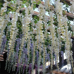 bayas de rosas Rebajas 2019 Glamorosa Ideas para bodas Elegante flor de seda artificial Wisteria Vine Decoraciones para bodas 3forks por pieza más cantidad más bella
