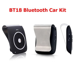 Wholesale Stereo Clip Microphone - BT18 Bluetooth V4.0 Sun Visor Clip Hands Free Car Speaker MP3 Player Built-in Microphone DSP Function Support Voice Dialing