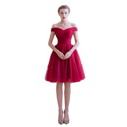 Wholesale Cheap Light Up T Shirts - A Line Off the Shoulder Tulle Burgundy Short Prom Dresses under 50 Dollars Cheap Graduation Homecoming Party Gown