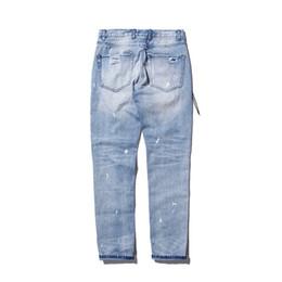 Wholesale Damaged Jeans - Wholesale-victory689 fashion high street mens destroyed jeans hole casual pants cool wash blue joggger damage 424 jeans rock hip hop men