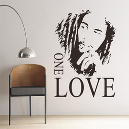 Wholesale Bob Marley Decals - High Quality Wall Sticker PVC Wall Decal with Black Color 43*61cm BOB MARLEY ONE LOVE DIY Stickers