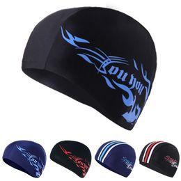 Wholesale Spandex Swimming Cap - Wholesale- 2017 spandex adult swimming caps long hair protector women swim hats fabric for pool cap 2pcs