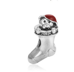 Wholesale Bear Christmas Stocking - Fits Pandora Bracelets 30pcs Christmas stocking Bear Silver Charm Bead Loose Beads For Wholesale Diy European Sterling Necklace Jewelry