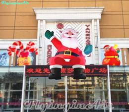 Wholesale Inflatable Waving - 4m Waving Father Christmas Inflatable Sitting Santa Claus on Roof Car