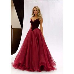 Wholesale Corset Evening Gown Chiffon - 2017 Elegant Velvet Burgundy Prom Dresses with Organza Skirt Ruffles V neck Corset Back Long Formal Party Dresses Evening Pageant Gowns