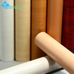 Wholesale Solid Wood Doors Wholesale - 5Meters Self adhesive Wood Grain Wallpaper Roll Peel&Stick Waterproof PVC Stickers Vinyl Wall Paper For Furniture Wardrobe Door Film