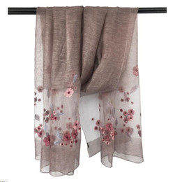 Wholesale Long Soft Scarf Wrap Shawl - 200cm*83cm silk and wool embroidered scarf long scarf thin and soft