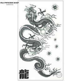 chinese dragons art Promo Codes - Wholesale-Long Chinese Dragon Temporary Tattoo Body Art Flash Tattoo Stickers 17*10cm Waterproof Fake Tatoo Car Styling Wall Sticker