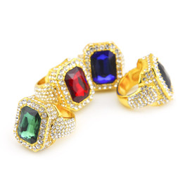 Wholesale Ring Silver Men Rock - Men Hip hop Ring Rock Punk Style Alloy Gold Plated Lced Out Full Rhinestone Square Red Blue Green Gem Crystal Rings Jewelry