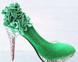Wholesale Glass Slipper Rhinestone Wedding Shoes - Glass slipper The bride shoes high documentary with round head thin shallow mouth wedding bridesmaid Women's shoes green