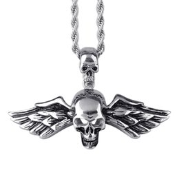 polished stainless necklace cross Coupons - 2017 cross skull wing pendant necklace homme jewelry boy polishing stainless steel rock men's necklaces Jewelry