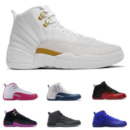 Wholesale Table Basketball Game - 2017 air retro 12 XII basketball shoes ovo white Flu Game GS Barons wolf grey Gym red taxi playoffs gamma french blue sneaker