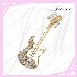 Wholesale Guitar Accessories Gifts - 100PCS Lot 2017 China Wholesale Valentine's Day Fashion Jewelry Gold Tone Clear Crystal Musician Accessories Corsage Guitar Brooch