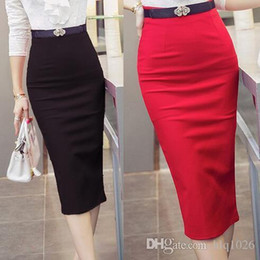 ladies high waist pencil skirts Promo Codes - Fashion 2016 Women Skirt OL Sexy Slim Stretch High Waist Pencil Skirt Elegant Ladies Skirts Free Shipping