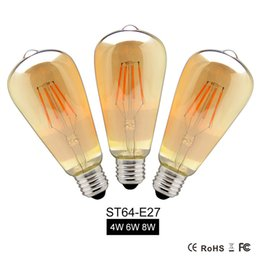 Wholesale 6w E27 Cob - 4W 6W 8W Dimmable COB LED Vintage Filament Retro Edison Bulbs 220V 110V ST64 2200K 27000K Filament Lamp Vintage Lighting