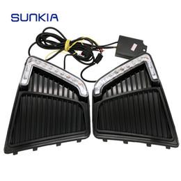 Wholesale Hyundai Fog - Car Styling LED DRL Daytime Running Light Fog Lamp Specific for Hyundai IX25 Creta 2015 with Yellow Turn Signal Function