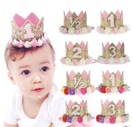 Wholesale Birthday Photo Prop Girl - Princess Birthday Hat Headband Sequins Gold & Pink Flowers Crown Party Decorations Headband for Baby and Girls Head Wear Photo Props