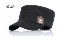 Wholesale Cadet Hats Wholesale - NY Logo Men Flat Top Hats Adjustable Snapback Flat Cap Unisex Army Cadet Cap Baseball Cap Outdoor Climbing Gorras