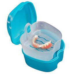 Wholesale Holder Dental - Quality Denture Bath Box Case Dental False Teeth Storage Box with Hanging Net Container Blue Plastic artificial tooth set holder