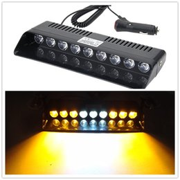 Wholesale Emergency Vehicles Lights - Car Warning Lights 9 LED Amber Lasting Yellow Emergency Light Vehicle Car Strobe Flash Light Warning Dash Lamp 1W Switch