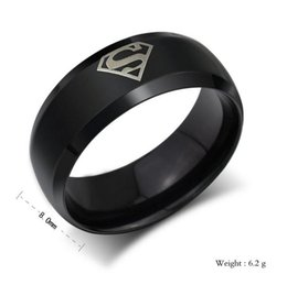 Wholesale Men S Fashion Jewelry Wholesale - Stainless Steel American Famous Superman Symbol Ring For Men Fashion Jewelry Classical Laser Printing S Letter Band Rings Free Shipping