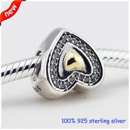 bracelet en or pandora 14k en gros Promotion Convient Pandora Bracelets Coeur Argent Perles Avec 14 K Or Nouveau Original 100% 925 Sterling Argent Charmes Bricolage En Gros