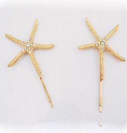 Wholesale Gold Hair Tone - 12Pcs lot Hair Pin Rhinestone Crystal Gold Tone Starfish Hairpin Hair Clip Accessory Beach Ocean Style