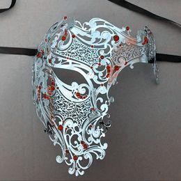 Wholesale Filigree Skulls - Wholesale- Devil Black Half Face Skull Christmas Filigree Party Mask Silver Red Rhinestones Skeleton Metal Prom Ball Gold Masquerade Mask