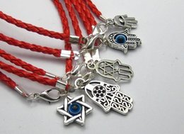 Wholesale Kabbalah Red String Hamsa Hand - 20 Mixed Kabbalah Hamsa Hand Charms Red Leatheroid Braided String Bracelets