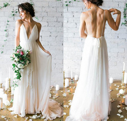 Wholesale Simple Flowing Wedding Dresses - 2017 Simple Deep V-neck Sweep Train Wedding Dresses With Straps Sex Flow Chiffon Backless Beach Bridal Gowns