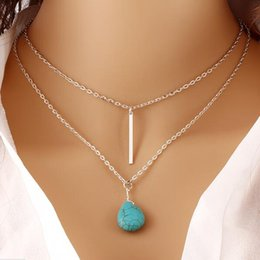 Wholesale Long Heart Jewellery Pendants - Wholesale- 2016 Fashion Bohemia Turquoise Long Double Chain Heart Pendant Necklace Punk Classic Summer Body Chain Necklaces Jewellery Women