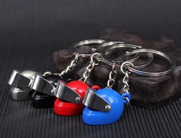 Wholesale Skeleton Motorcycle Helmets - Brand new Motorcycle Helmet Keychain Key Ring Creative Simulation Gift KR015 Keychains mix order 20 pieces a lot