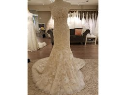 Wholesale Sheer Mermaid - Mermaid Wedding Dresses Fit and Flare Sheer Illusion Luxurious Lace and Floral Lace Appliques Sleeveless V Back COR-598 Noiva Renda Vintage