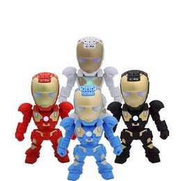 Wholesale Arm Robots - C-89 Iron Man Bluetooth Speaker with LED Flash Light Deformed Arm Figure Robot Portable Mini Wireless Subwoofers TF FM USB Card MOQ;10PCS