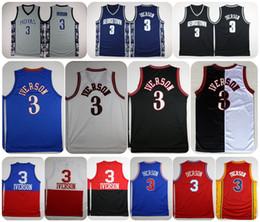 Wholesale Cheap Browning Shirts - Georgetown Hoyas Allen Iverson College Basketball Jersey University #3 Allen Iverson Throwback Shirts Cheap Retro Stitched Jerseys S-XXL