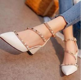 Wholesale Ladies Summer Footwear Sandals - 2017 New ladies high heel sandals brand summer rivets point toe party women new arrival fashion footwear heels shoes woman