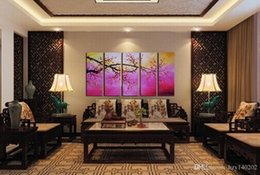 Wholesale Tree Canvas Art Piece - Modern Framed Canvas Painting Art Plum Blossom Tree Hand-painted Paintings 5 Piece Large Wall Pictures For Living Room 10x28inchx5p h62