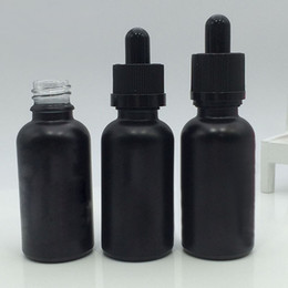 Wholesale Essential Oil Glass Dropper Bottles - 500pcs Frosted Black Glass dropper Bottles Empty Essential Oil Bottles 30ml Mini E Liquid Glass Bottle With Glass Pipette