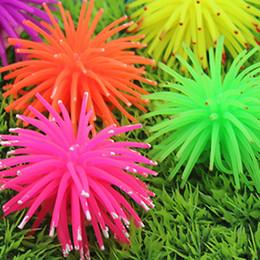 decorazioni del serbatoio di pesce della pianta all'ingrosso Sconti Resina di silicone Luminous Sea Anemone Aquarium Simulazione Coral Sea Urchins E00689