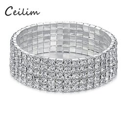 Wholesale rowing for sale - Hot sale 1-6 row white crystal tennis bracelet bridal bracelet stretch silver tone - ideal for wedding free shipping 2017